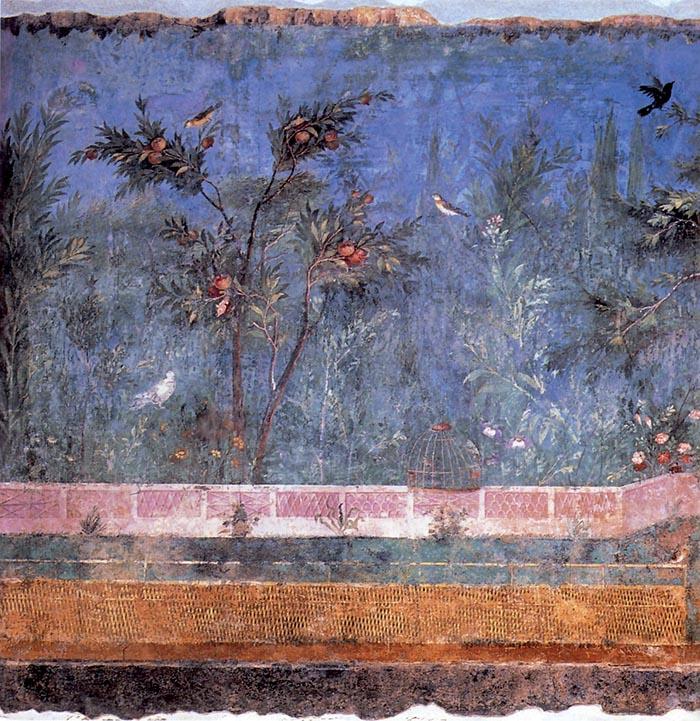 A sinistra pianta d'alloro nel dipinto parietale della villa di Livia Drusilla, moglie dell'imperatore Augusto