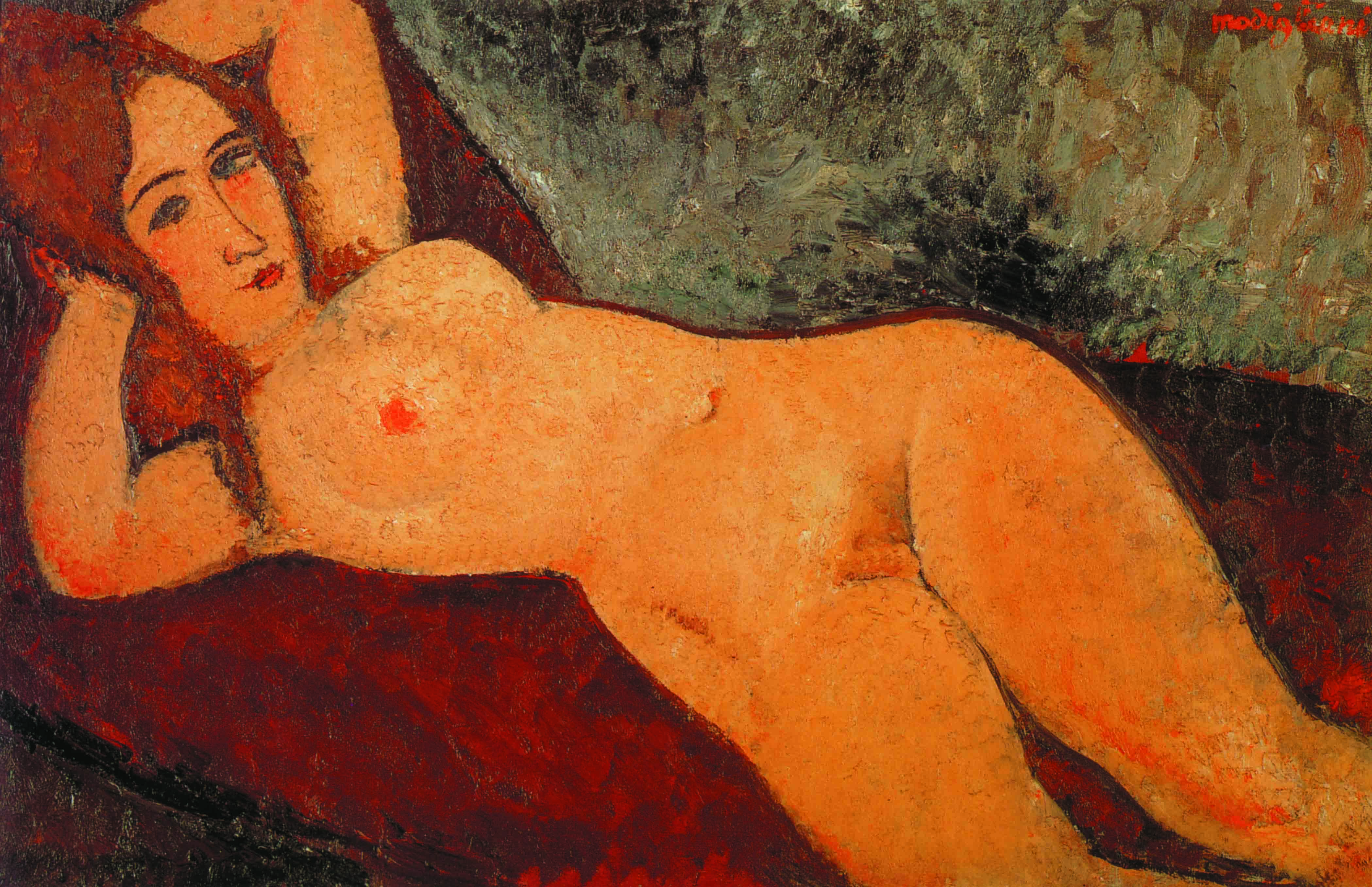"""Amedeo Modigliani, """"Nudo sul divano, con le mani dietro la testa"""""""