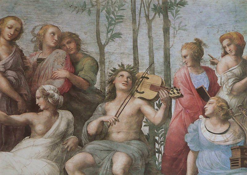 Piante di alloro e corona di Lauro sul capo di Apollo, attorniato dalle muse. Il Parnaso è un affresco (670 cm alla base) di Raffaello Sanzio, databile al 1510-1511 e situato nella Stanza della Segnatura, una delle quattro Stanze Vaticane.