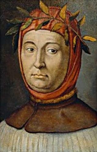 Un ritratto immaginario di Petrarca con la corona d'alloro dei poeti