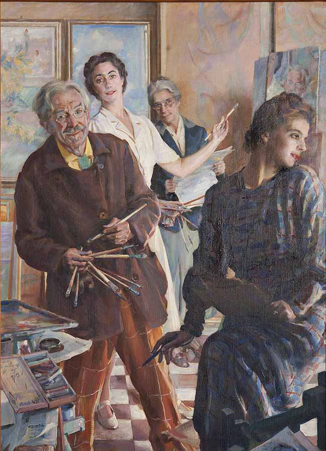 Giacomo Balla, Noi 4 allo specchio, 1945, olio su tela