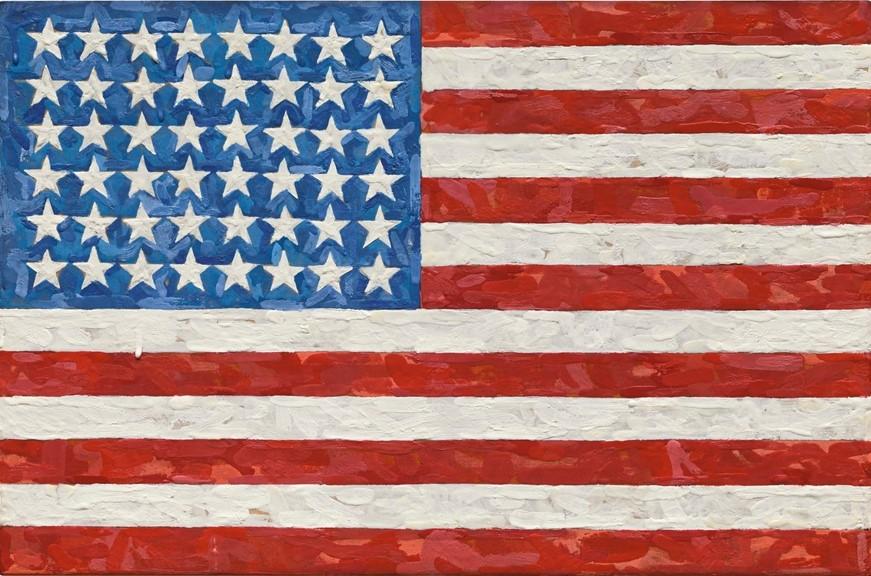 Jasper Johns, Flag,1983, encausto su bandiera di seta riportata su tela, 29,5 X 44,4 centimetri. Firmata e datata sul retro. L'opera, appartenente alla serie più nota dell'artista, fu venduta a 36 milioni di dollari da Sotheby's l'11 novembre 2014