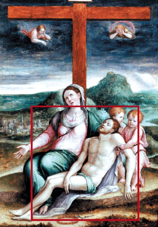 Nel riquadro rosso, particolare dove a causa del degrado della pellicola pittorica  si può intravedere il disegno preparatorio sull'incarnato del Cristo