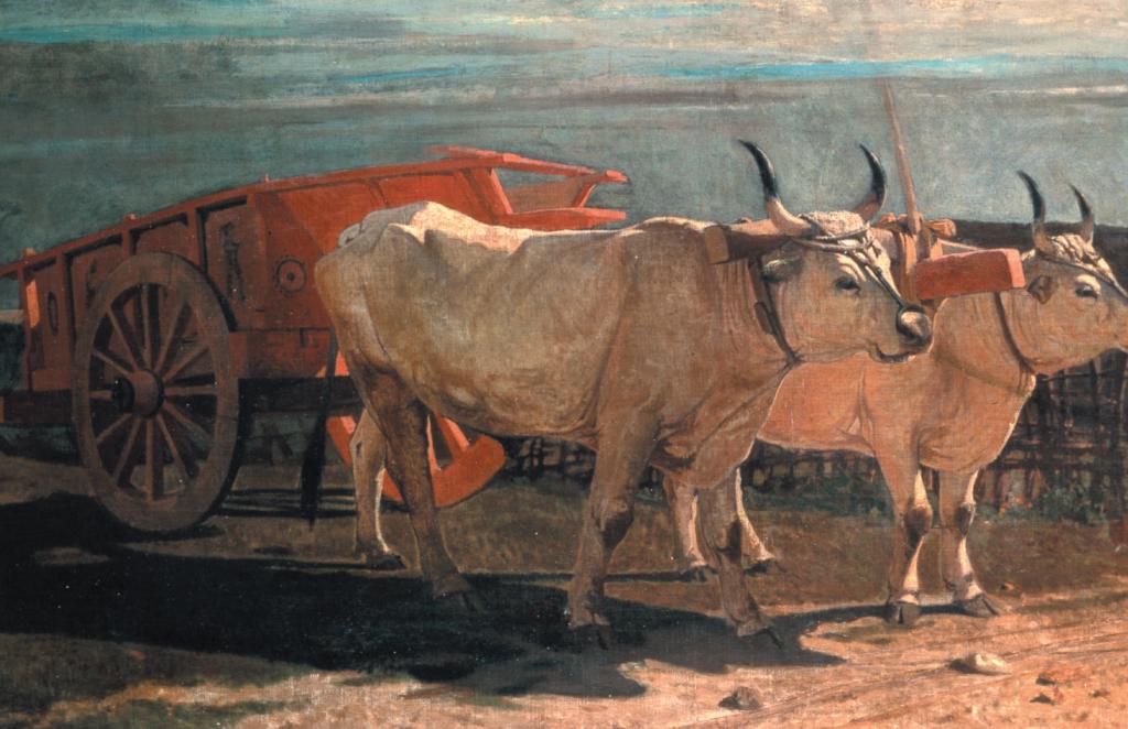 """Giuseppe Abbati, """"Animali (Carro e bovi nella Maremma toscana)"""""""