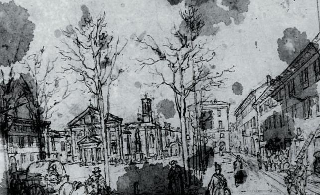 Studio della veduta di Piazza Borromeo