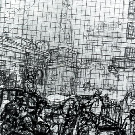 """""""Veduta di piazza della Loggia"""", studio preparatorio. Inganni realizzava la quadrettatura per riportare il disegno, fedelmente, dalla dimensione dello schizzo a quella del quadro."""