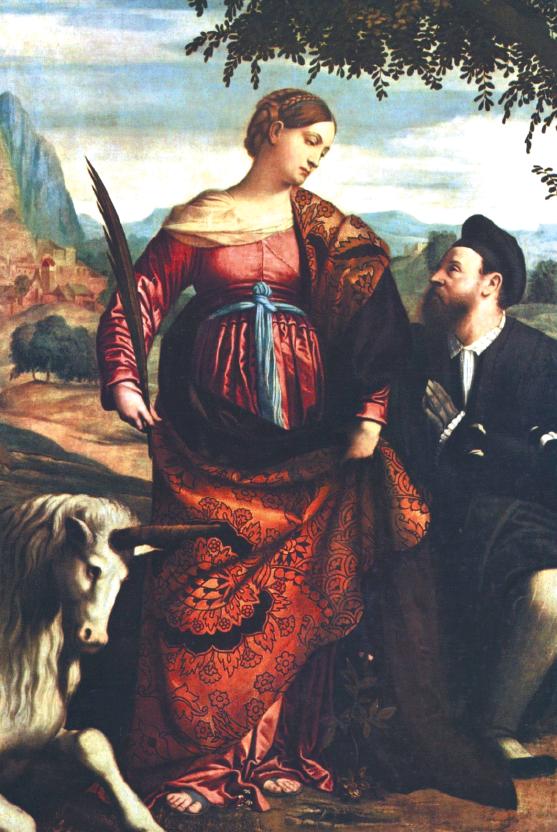 """Moretto, """"Santa Giustina omaggiata da un committente"""", 1520-1530"""