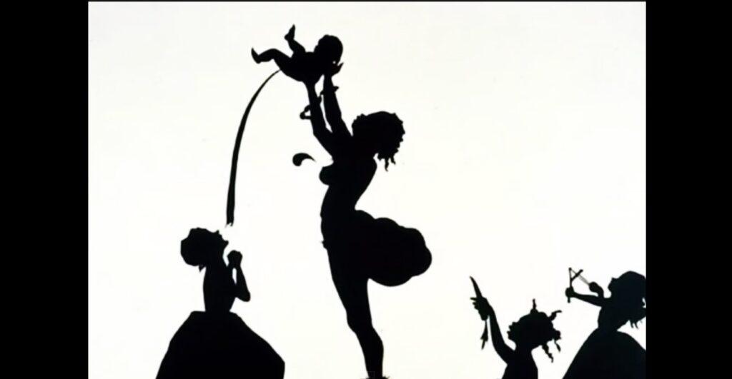 Un'opera di Kara Walker (1969) realizzata attraverso il ritaglio di cartoncino nero, com 'è sua consuetudine. Il lavoro si pone in contrasto con l'ideale di maternità angelicata, che appartiene al mondo dei bianchi.