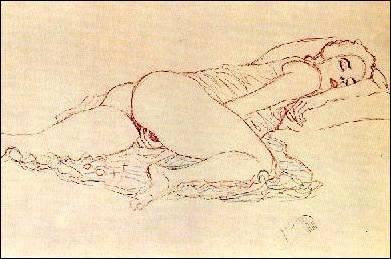 Disegno erotico di Gustav Klimt