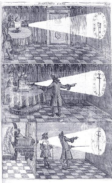 L'atmosfera inquietante prodotta dalle lampade magiche fu utilizzata anche da Cagliostro