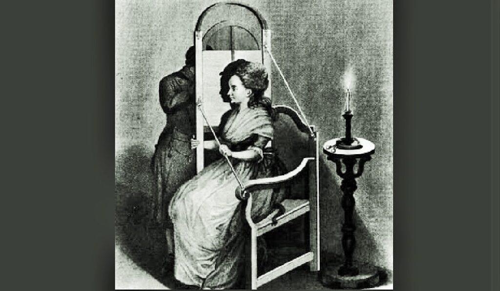 Macchina per la aproiezione dell'ombra del soggetto, posro di profilo. Il marchingegno era finalizzato a cogliere perfettamente il soggetto per ritratti dii profilo o per ritagli di silhouette, che avevano un costo piuttosto limitato.