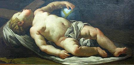 """Giovanni Antonio Felice Orelli (1706-1776), Gesù Bambino dormiente sulla croce"""""""