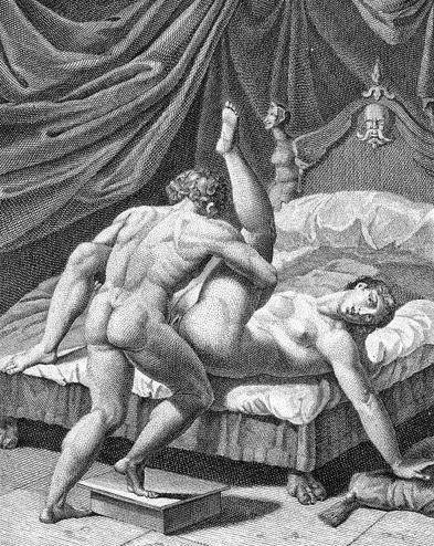 Un'incisione di Marcantonio Raimondi che si lega ai Sonetti lussuriosi di Pietro Aretino. Quella sera del 1720 i nobili francesi videro certamente anche questa immagine. Le altre, più sotto, sono proiezioni di incisioni erootiche ambientate nel Settecento, epoca nella quale avvenne la riunione qui narrata