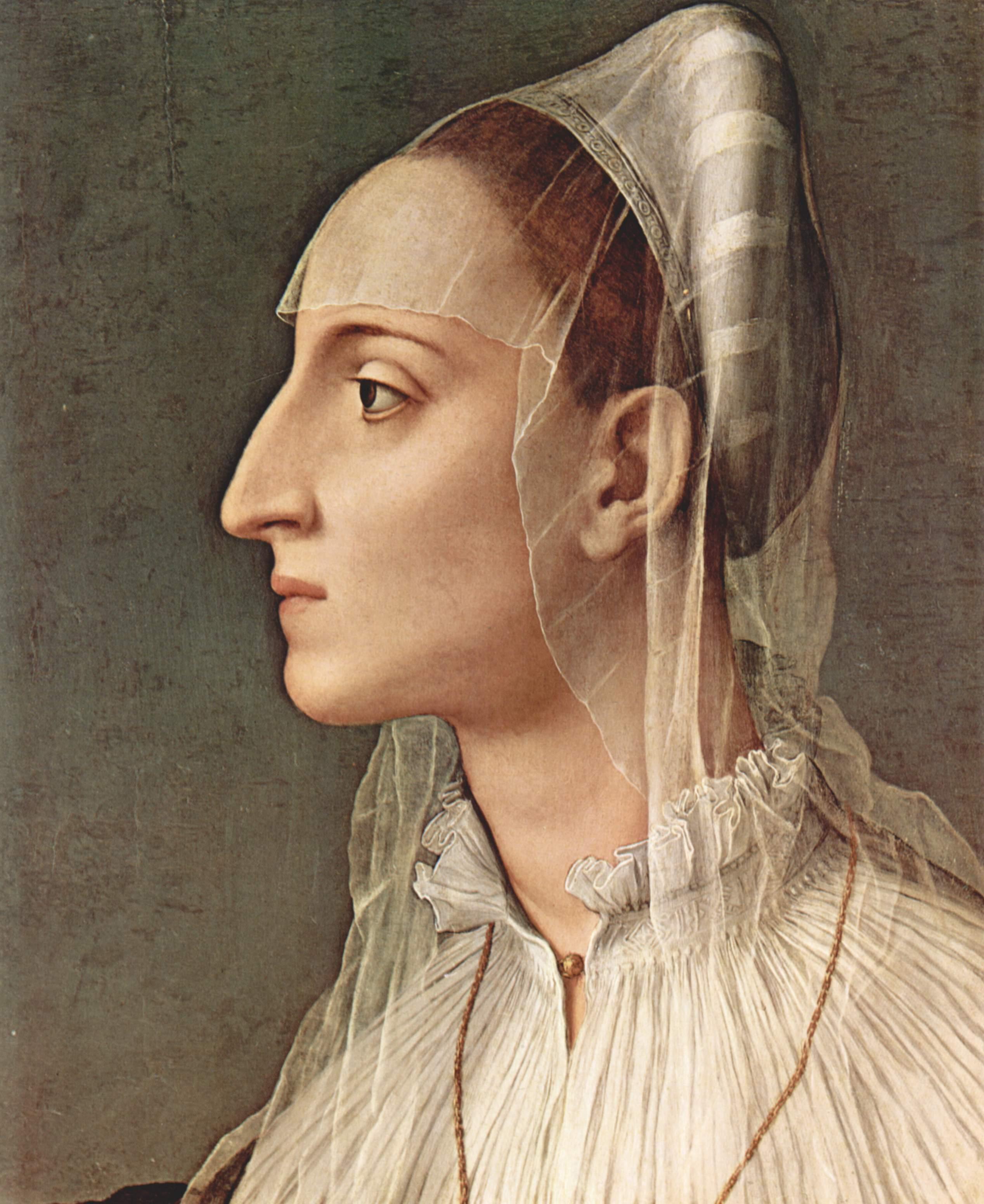 Il ritratto di Laura Battiferri, (1555-1560), opera del Bronzino, riprende le velature introdotte dalla pittura fiamminga