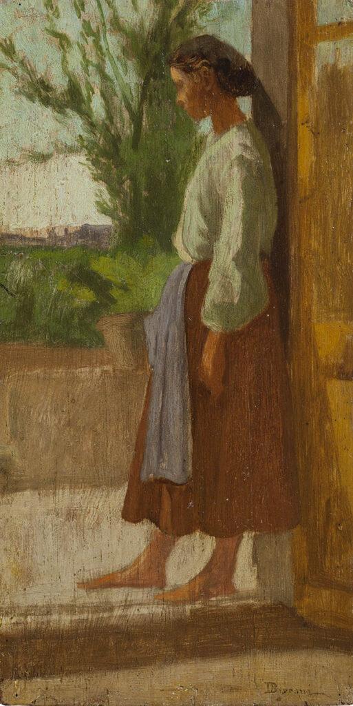 Odoardo Borrani Contadinella a Pergentina Olio su tavola, 39 x 27 cm Collezione privata