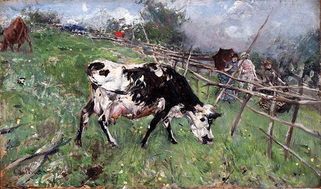 Giovanni Boldini, Una passeggiata pomeridiana in campagna, 1884 Olio su tavola, 14 x 23,8 cm