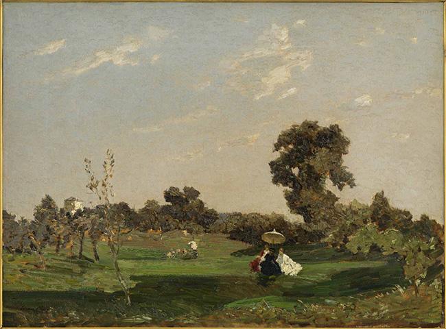 Emma Ciardi: Campagna a Refrontolo, olio su tela, cm 55,5 x 75, Padova, collezione privata