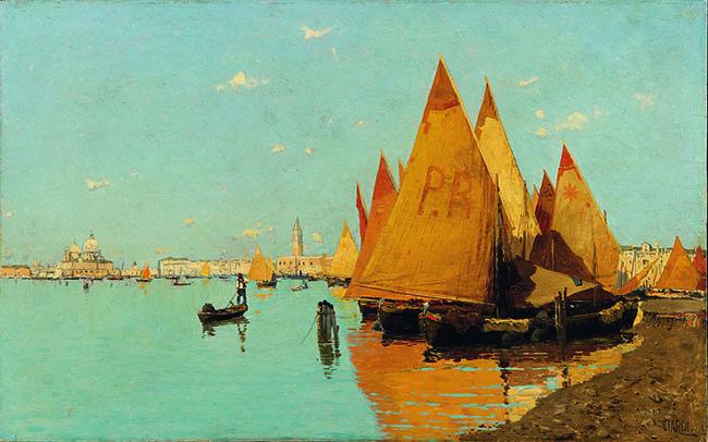 Guglielmo Ciardi: Vele in laguna, olio su tela, cm 34,5 x 55, Padova, collezione privata