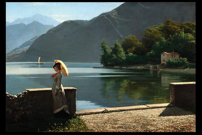 Napoleone Nani: Passeggiata sul lago, olio su tela, cm 59 x 87,5, Padova, collezione privata