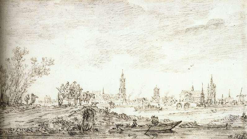 Una veduta antica di Delft,città di Vermeer. vista da Jan van Goyen