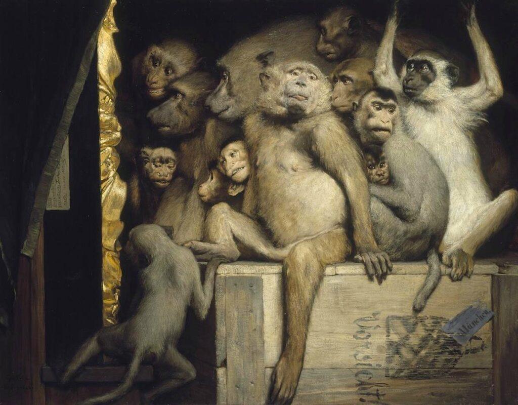 Gabriel von Max (1840-1915), Les singes critiques d'art 1889, Nouvelle Pinacothèque, Munich Les singes critiques d'art, 1889, Nouvelle Pinacothèque, Munich