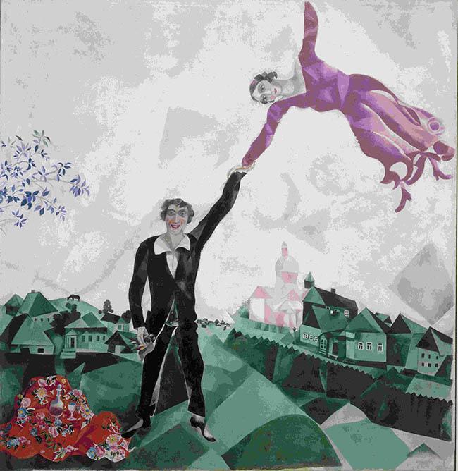 Marc Chagall, La passeggiata, 1917-1918, Olio su tela (175,2 x 168,4), San Pietroburgo, Museo di Stato Russo