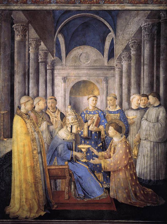 Giovanni da Fiesole, al secolo Guido di Pietro (Vicchio, 1395 circa – Roma, 18 febbraio 1455), detto il Beato Angelico o Fra' Angelico, Consacrazione di san Lorenzo come diacono, Cappella Niccolina, Roma