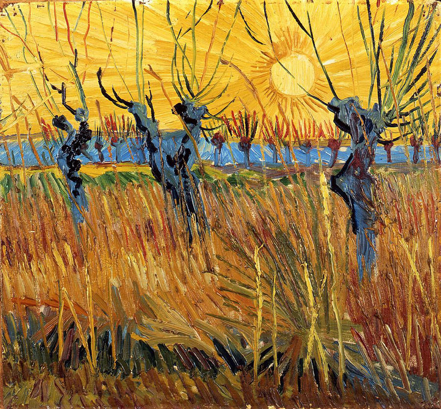 Vincent van Gogh, Salici potati al tramonto, 1888 olio su tela applicata su cartone, cm 31,6 x 34,3 Otterlo, Kröller-Müller Museum