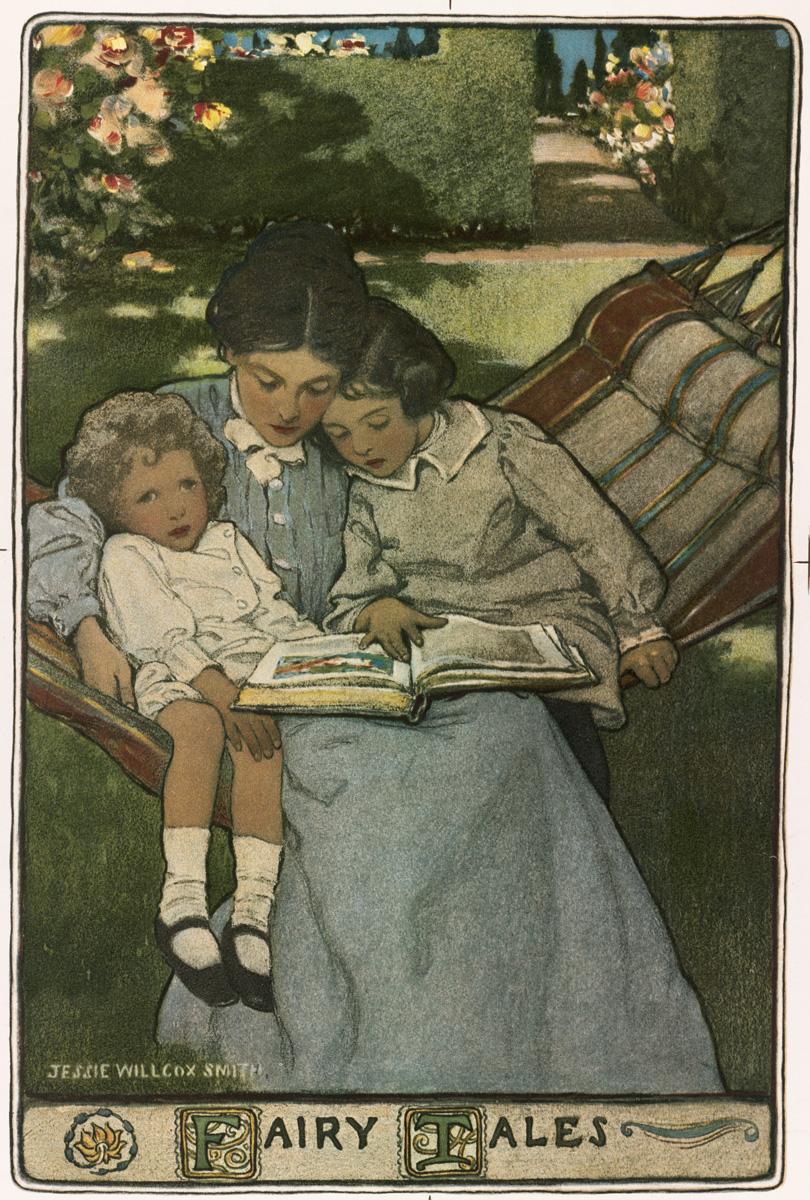 Una madre legge ai suoi figli, raffigurati da Jessie Willcox Smith in una illustrazione copertina di un volume di fiabe scritte nella metà alla fine del 19esimo secolo