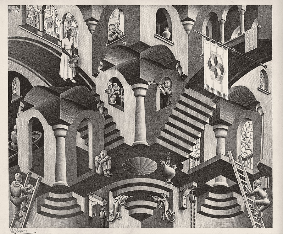 Maurits Cornelis Escher Convesso e concavo Marzo 1955 Litografia, 27,5x33,5 cm Collezione Federico Giudiceandrea All M.C. Escher works © 2015 The M.C. Escher Company. All rights reserved www.mcescher.com