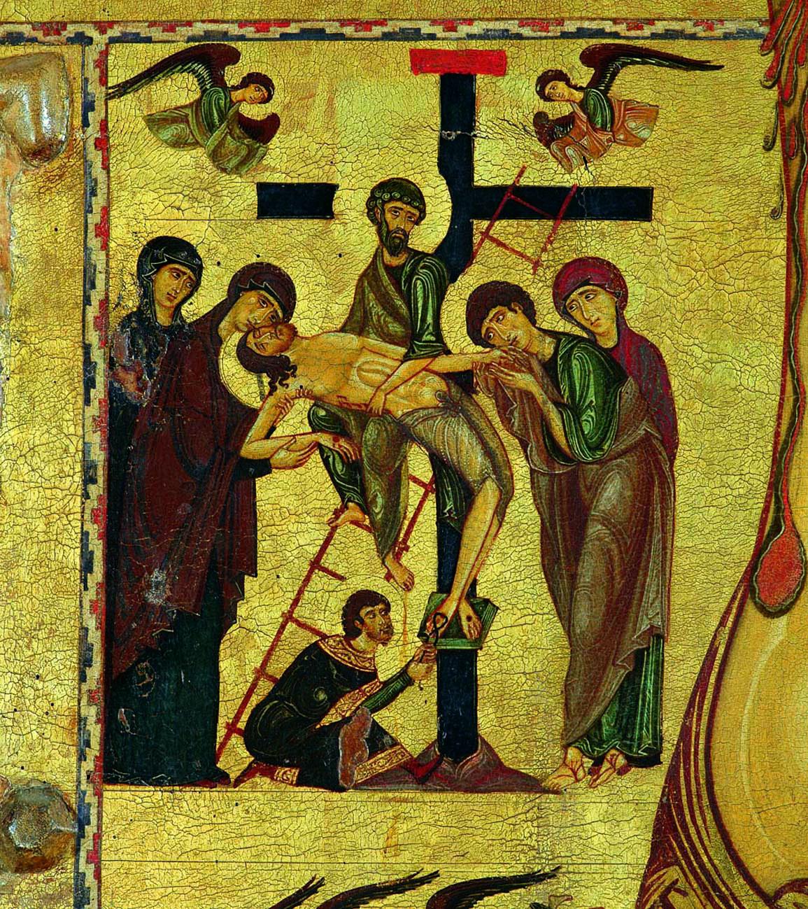 """Pittore bizantino, """"Deposizione"""", particolare della """"Croce di San Matteo"""", 1203 circa. Il dipinto mostra il nucleo di innovazione cui mossero le ricerche artistiche svolte a Pisa nel Duecento. L'opera non possiede la fissità che, di norma, viene ritenuta tratto peculiare della pittura bizantina"""
