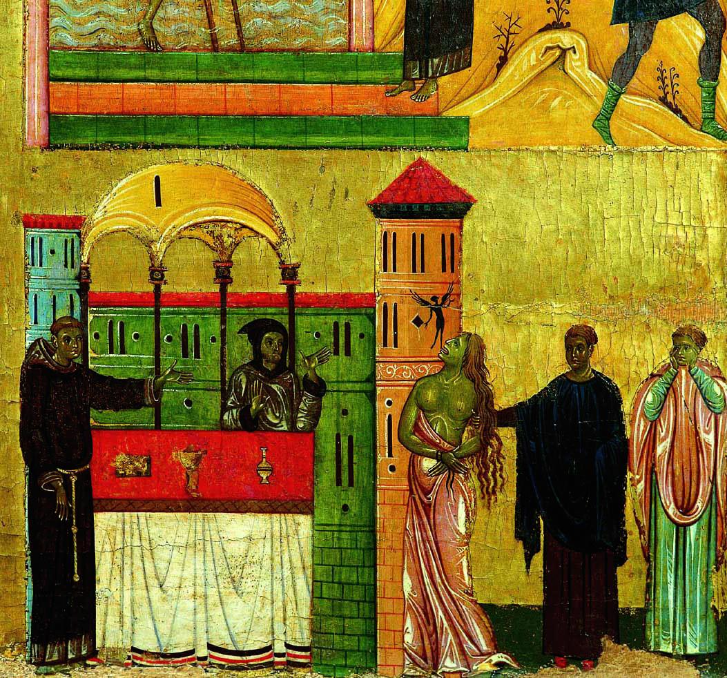 """Miracolo dell'indemoniata"""". Determinante per il nuovo linguaggio elaborato dal pittore, fu la sua vicinanza ai Francescani e alla loro intensa religiosità, calata nel mondo. Questi episodi precedettero, in chiave di realismo, l'avvento di Cimabue e di Giotto."""