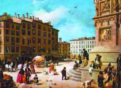 """Guerillot e Inganni, """"Piazza Duomo e il Ribecchino"""" o """"Veduta di Piazza Duomo dall'angolo di Palazzo Reale"""", 1850, olio su tela"""