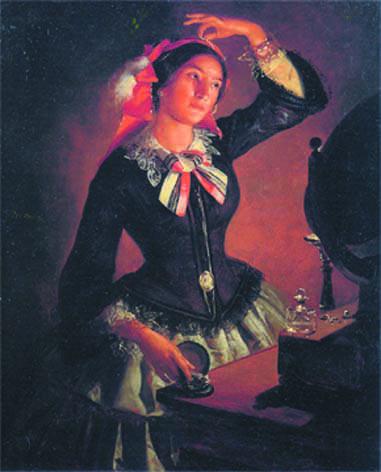 """Angelo Inganni, """"Amanzia Guerillot allo specchio"""", 1860, olio su tela"""