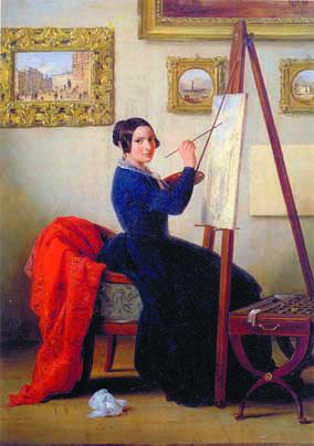 """Inganni, """"Amanzia Guerrillot nello studio"""", 1855 circa, olio su tela"""