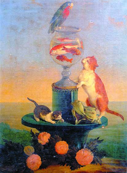 """Guerillot, """"Gatti che giocano con un vaso di pesci rossi"""", 1840, olio su cartoncino"""