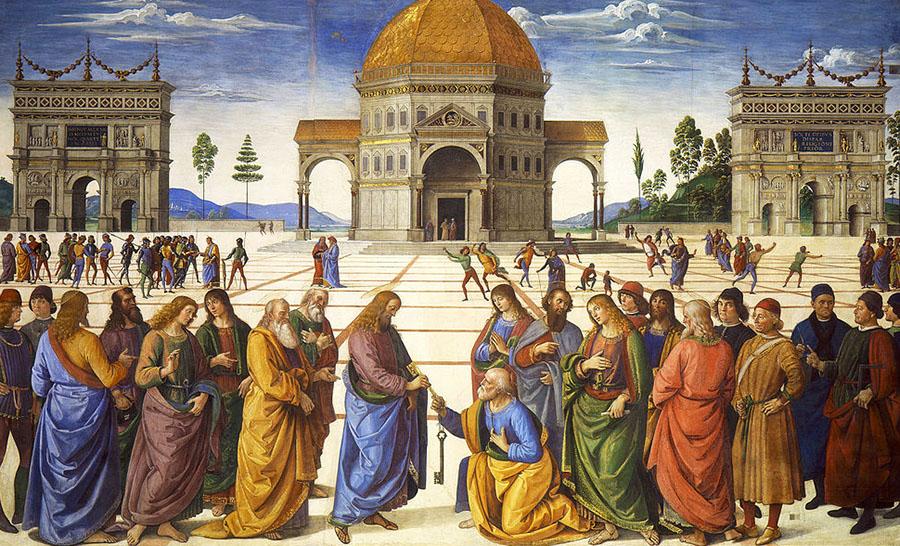 Perugino, Consegna delle chiavi, 1481-1482 circa, affresco,335×550 cm, Cappella Sistina, Città del Vaticano
