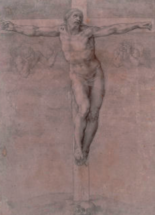 "Michelangelo, ""Crocifisso con due angeli dolenti"""