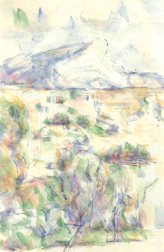 "Paul Cézanne, ""La montaigne Sainte-Victoire vue des Lauves"", 1902-1906, acquerello, 48x31 cm, Philadelphia Museum of Art."