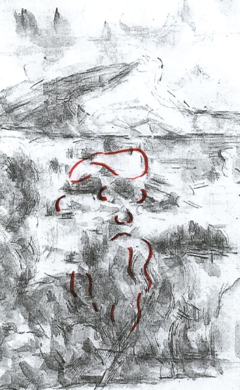 In questa immagine in bianco e nero abbiamo evidenziato i tratti del volto nascosto del pittore