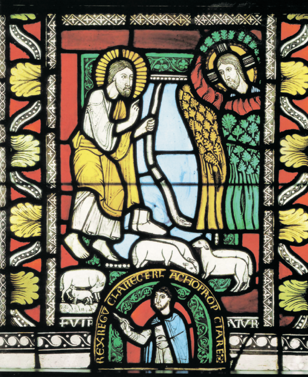 """Gerlachus, """"Mosè presso il roveto ardente"""" e """"Autoritratto"""", 1150-60 circa"""
