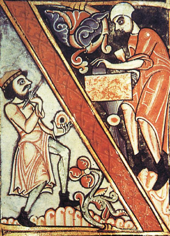 """""""Miniatore al lavoro"""", Dover Bible, 1150 circa"""