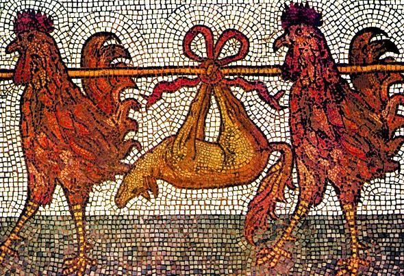 I galli trasportano la volpe uccisa e trasformata in un trofeo di caccia. Mosaico di San Marco Venezia