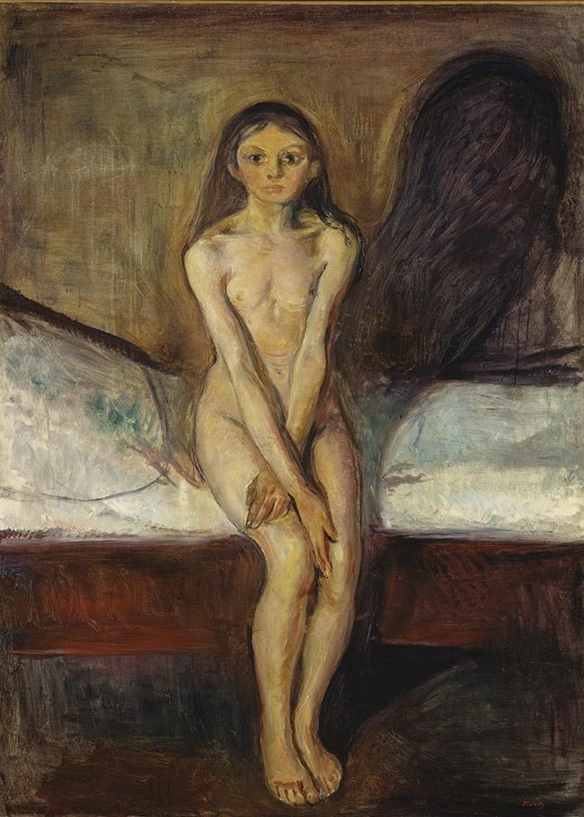 Edvard Munch (Løten, 12 dicembre 1863 – Oslo, 23 gennaio 1944) , La pubertà, 1894-1895, olio su tela, 151,5×110 cm, Galleria nazionale, Oslo