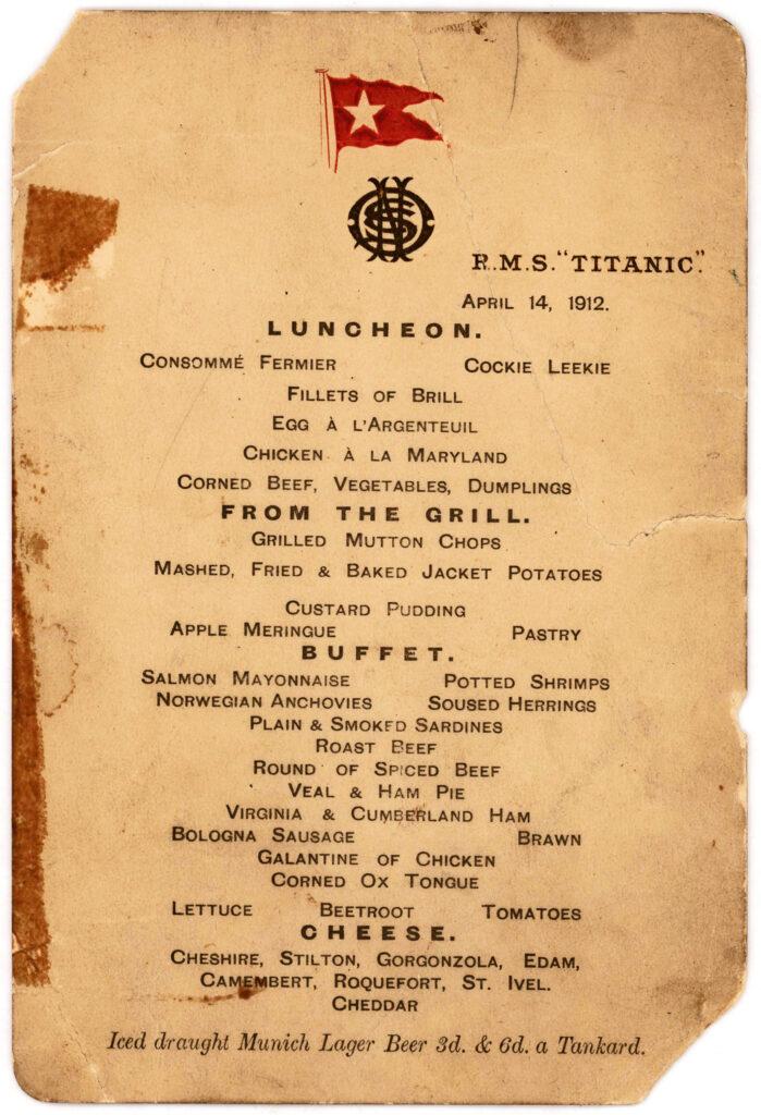 Il menù dell'ultima cena sul Titanic