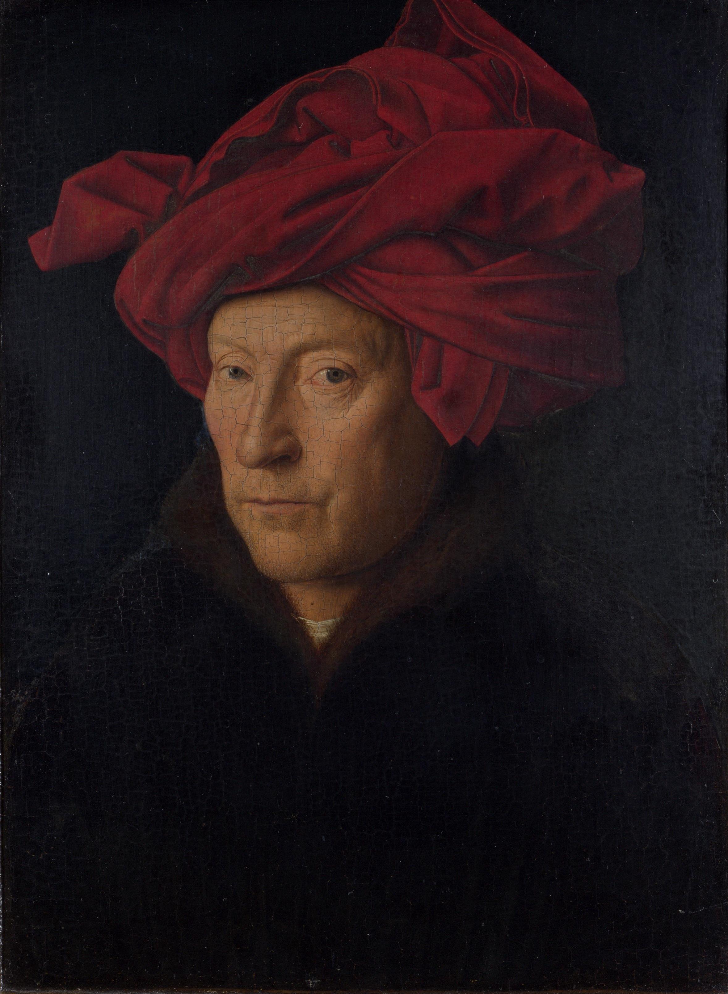Jan van Eyck (Maaseik, 1390 circa – Bruges, giugno 1441), Ritratto di uomo con turbante rosso, 1433