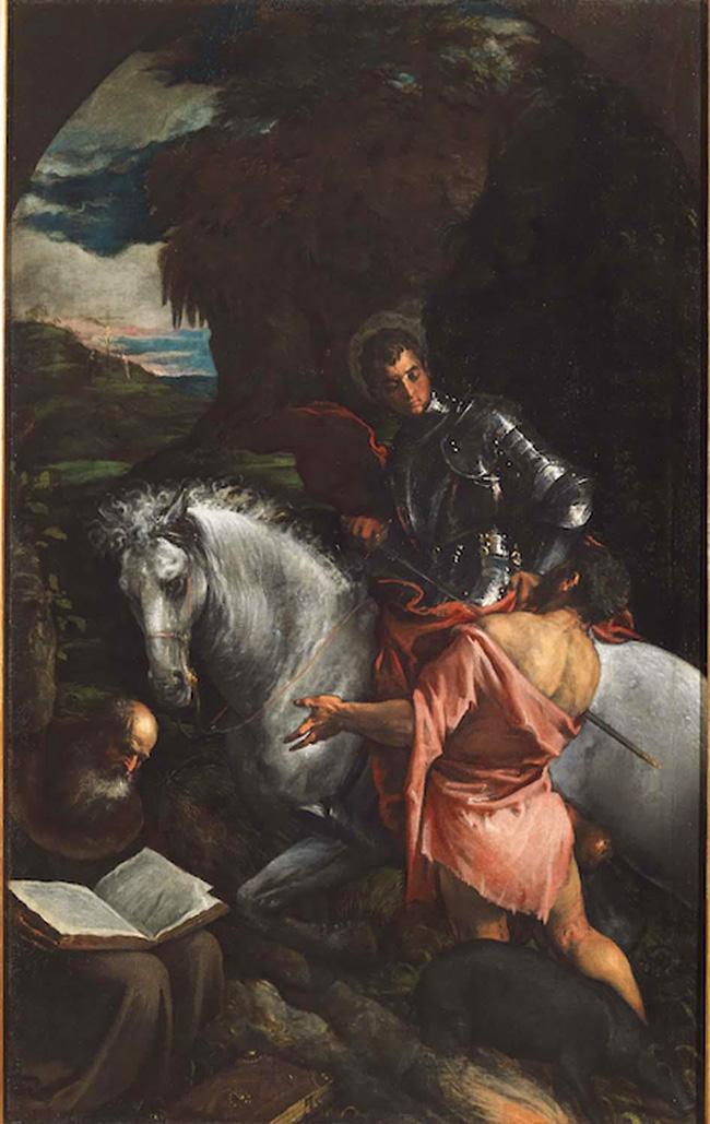 Jacopo Bassano: San Martino e il povero con sant'Antonio Abate, sec. XVI (ottavo decennio) Olio su tela, cm 167x105 Bassano del Grappa, MBA Musei Biblioteca Archivio