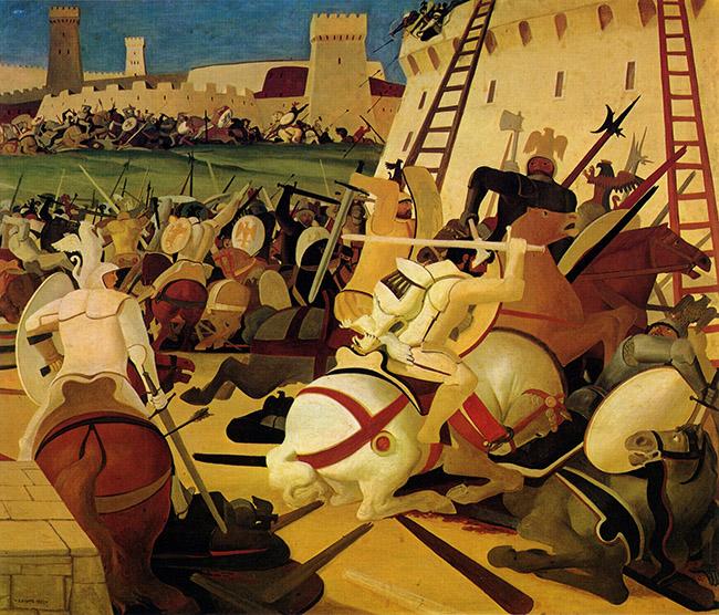 Salvatore Fiume, La battaglia dell'Aquila, anni '49 – '52, olio su tela, 170x200 cm
