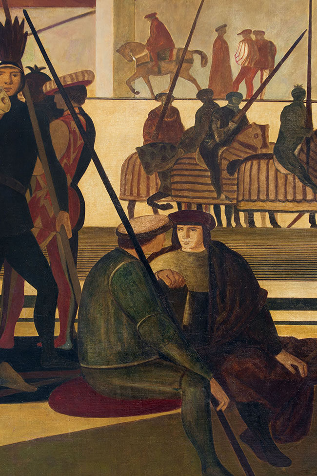 Salvatore Fiume, Italia mitica (particolare), 1950, olio su tela, m 280 x 15,30, Dipinto per il transatlantico Giulio Cesare