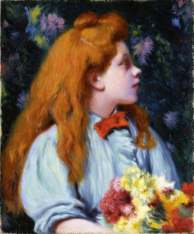 Federico Zandomeneghi, Bambina con fiori, olio su tela 46 x 38 cm, Collezione privata